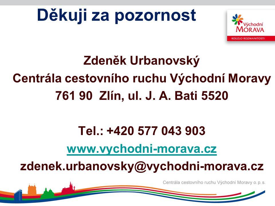 Děkuji za pozornost Zdeněk Urbanovský Centrála cestovního ruchu Východní Moravy 761 90 Zlín, ul. J. A. Bati 5520 Tel.: +420 577 043 903 www.vychodni-m