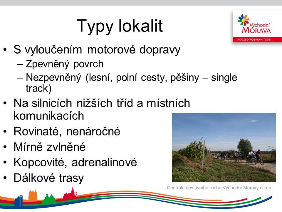 Typy lokalit S vyloučením motorové dopravy –Zpevněný povrch –Nezpevněný (lesní, polní cesty, pěšiny – single track) Na silnicích nižších tříd a místní