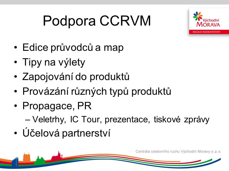 Podpora CCRVM Edice průvodců a map Tipy na výlety Zapojování do produktů Provázání různých typů produktů Propagace, PR –Veletrhy, IC Tour, prezentace,