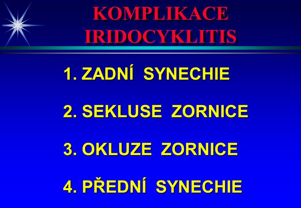 KOMPLIKACE IRIDOCYKLITIS KOMPLIKACE IRIDOCYKLITIS 1. ZADNÍ SYNECHIE 2. SEKLUSE ZORNICE 3. OKLUZE ZORNICE 4. PŘEDNÍ SYNECHIE