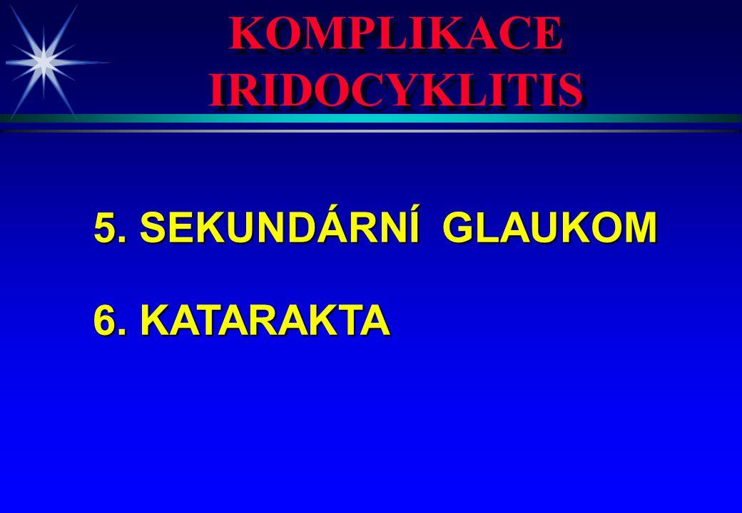 KOMPLIKACE IRIDOCYKLITIS KOMPLIKACE IRIDOCYKLITIS 5. SEKUNDÁRNÍ GLAUKOM 6. KATARAKTA