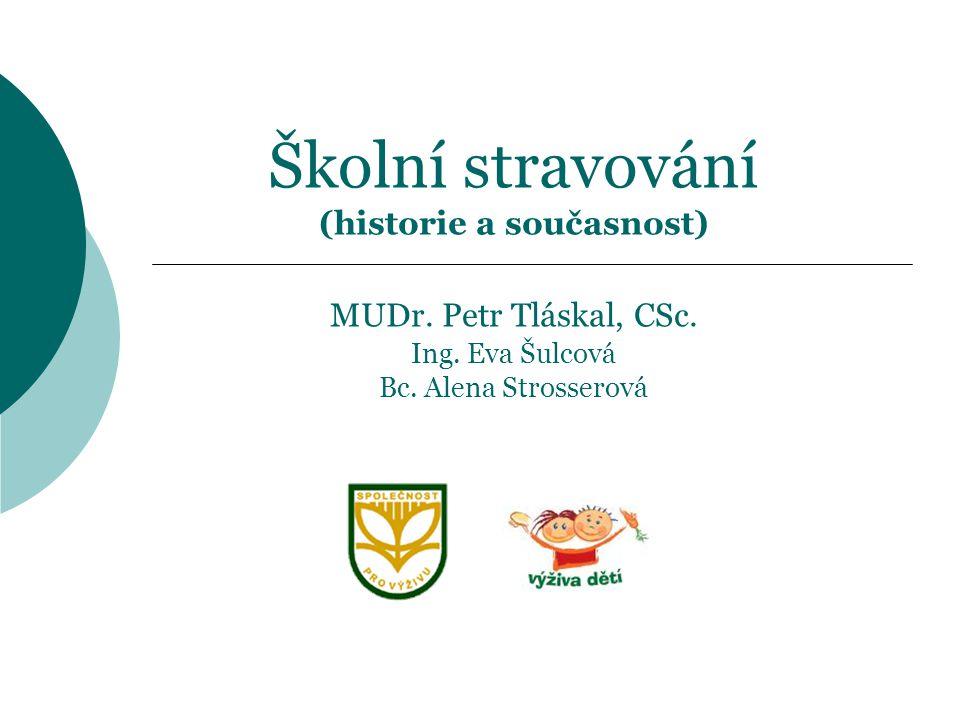 Školní stravování (historie a současnost) MUDr. Petr Tláskal, CSc. Ing. Eva Šulcová Bc. Alena Strosserová