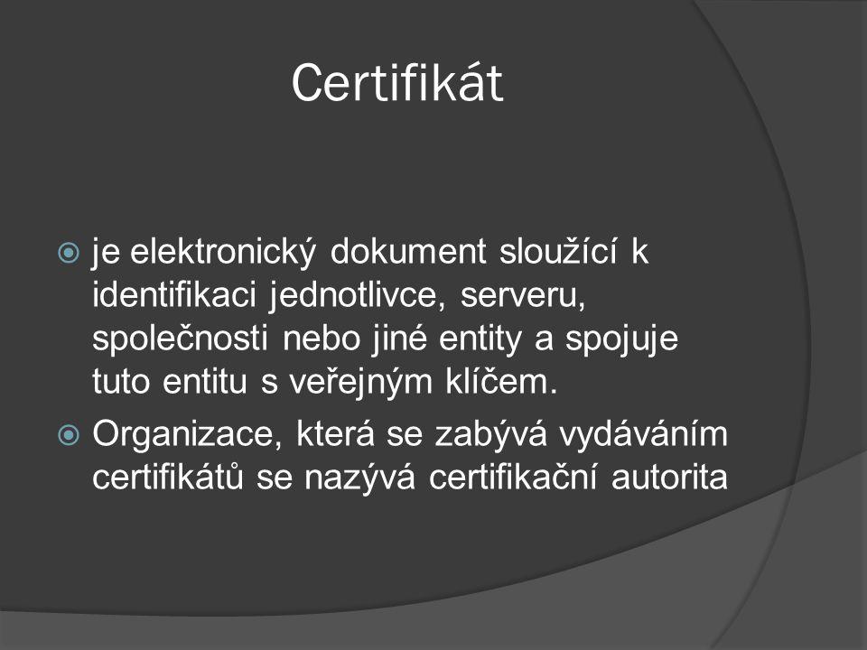 Certifikát  je elektronický dokument sloužící k identifikaci jednotlivce, serveru, společnosti nebo jiné entity a spojuje tuto entitu s veřejným klíčem.