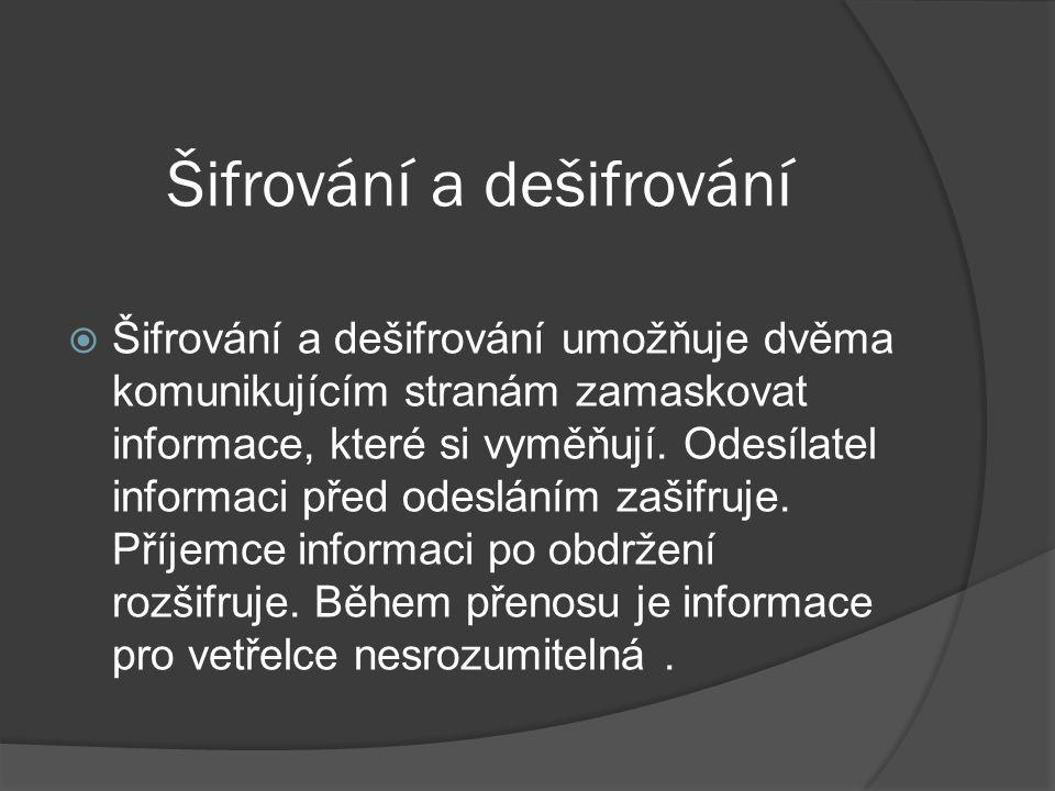 Šifrování a dešifrování  Šifrování a dešifrování umožňuje dvěma komunikujícím stranám zamaskovat informace, které si vyměňují.