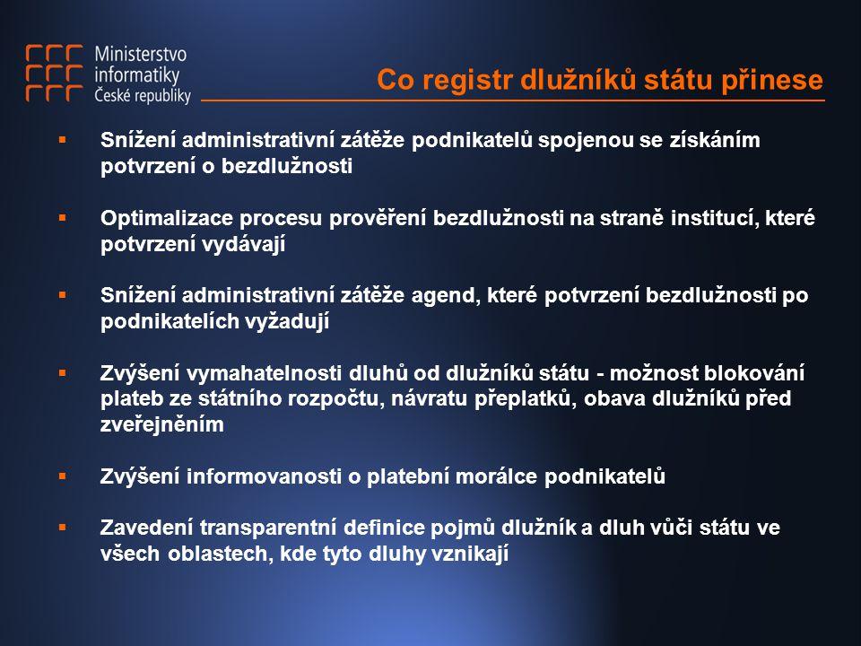 Co registr dlužníků státu přinese  Snížení administrativní zátěže podnikatelů spojenou se získáním potvrzení o bezdlužnosti  Optimalizace procesu pr