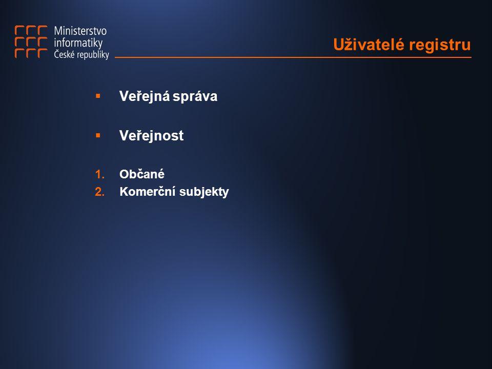 Uživatelé registru  Veřejná správa  Veřejnost 1.Občané 2.Komerční subjekty
