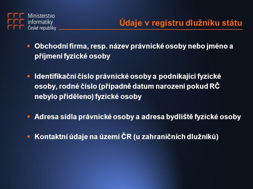 Údaje v registru dlužníku státu  Obchodní firma, resp. název právnické osoby nebo jméno a příjmení fyzické osoby  Identifikační číslo právnické osob