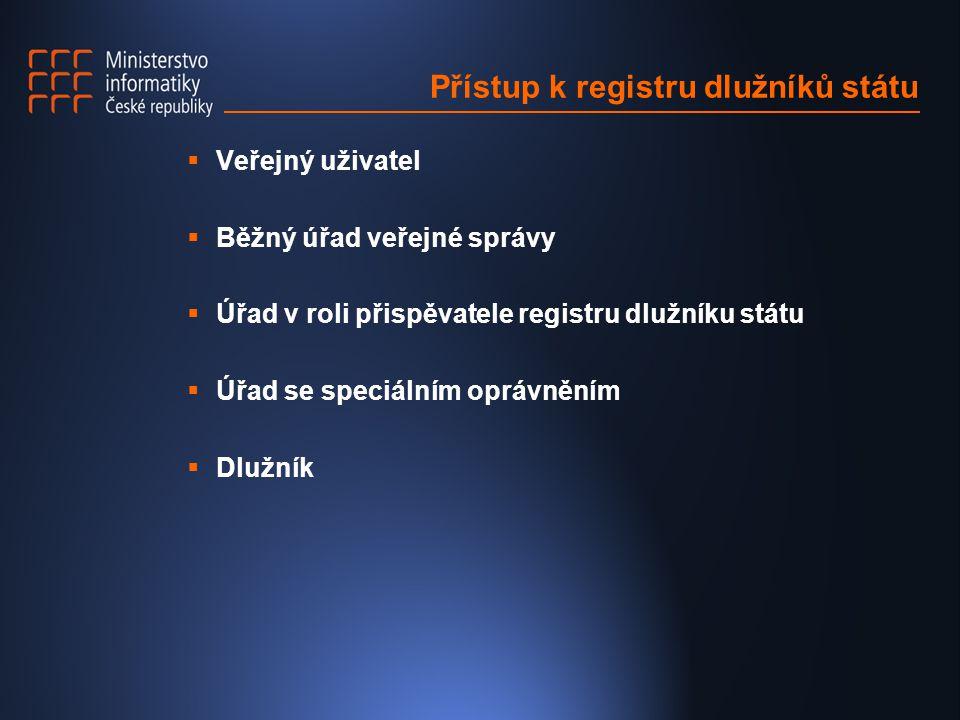 Přístup k registru dlužníků státu  Veřejný uživatel  Běžný úřad veřejné správy  Úřad v roli přispěvatele registru dlužníku státu  Úřad se speciáln