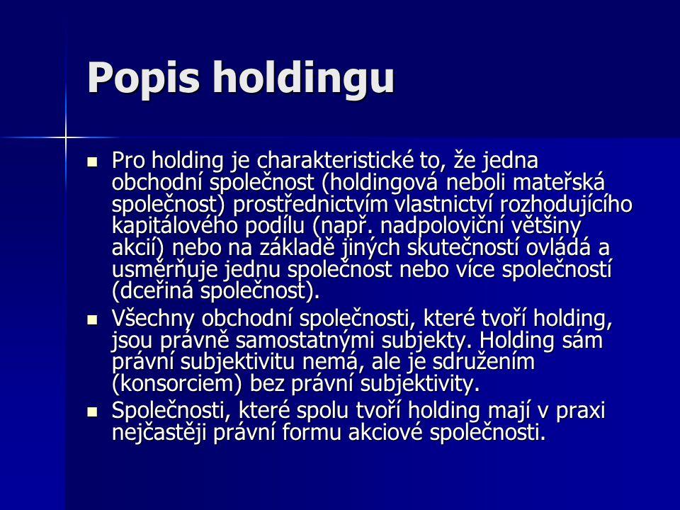 Popis holdingu Pro holding je charakteristické to, že jedna obchodní společnost (holdingová neboli mateřská společnost) prostřednictvím vlastnictví rozhodujícího kapitálového podílu (např.