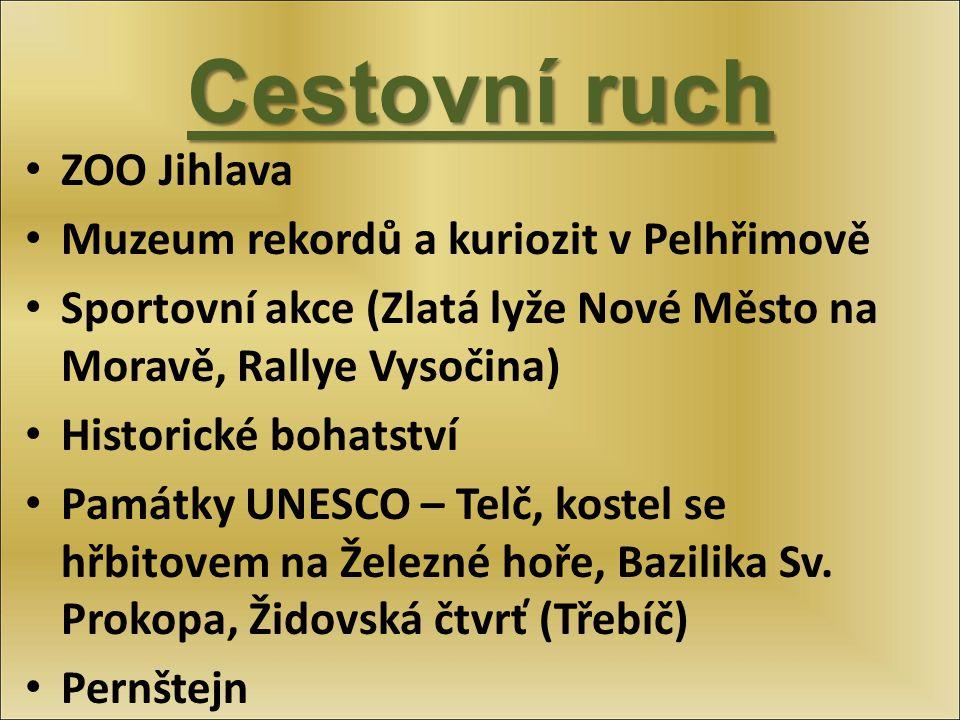 Cestovní ruch ZOO Jihlava Muzeum rekordů a kuriozit v Pelhřimově Sportovní akce (Zlatá lyže Nové Město na Moravě, Rallye Vysočina) Historické bohatstv