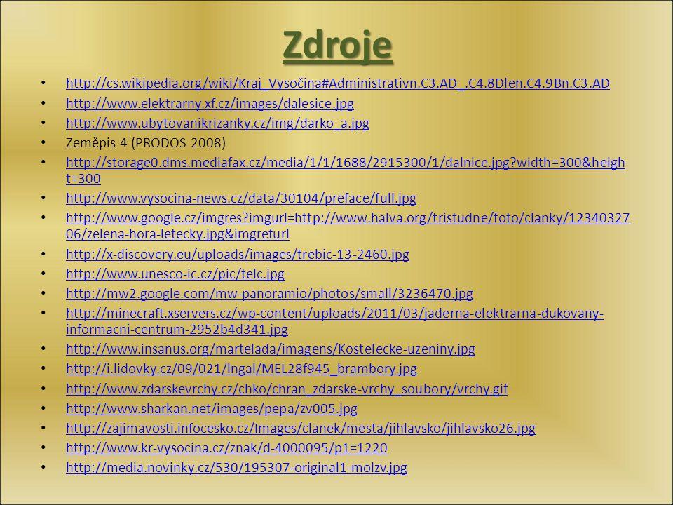 Zdroje http://cs.wikipedia.org/wiki/Kraj_Vysočina#Administrativn.C3.AD_.C4.8Dlen.C4.9Bn.C3.AD http://www.elektrarny.xf.cz/images/dalesice.jpg http://w