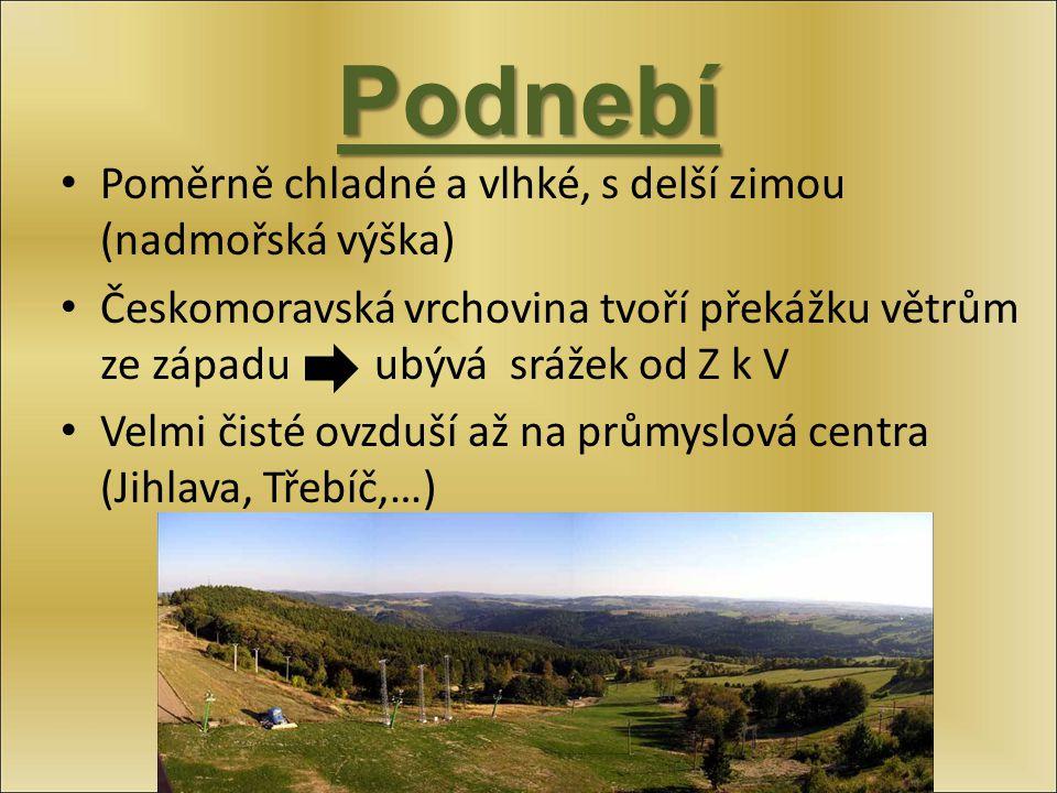 Podnebí Poměrně chladné a vlhké, s delší zimou (nadmořská výška) Českomoravská vrchovina tvoří překážku větrům ze západu ubývá srážek od Z k V Velmi č