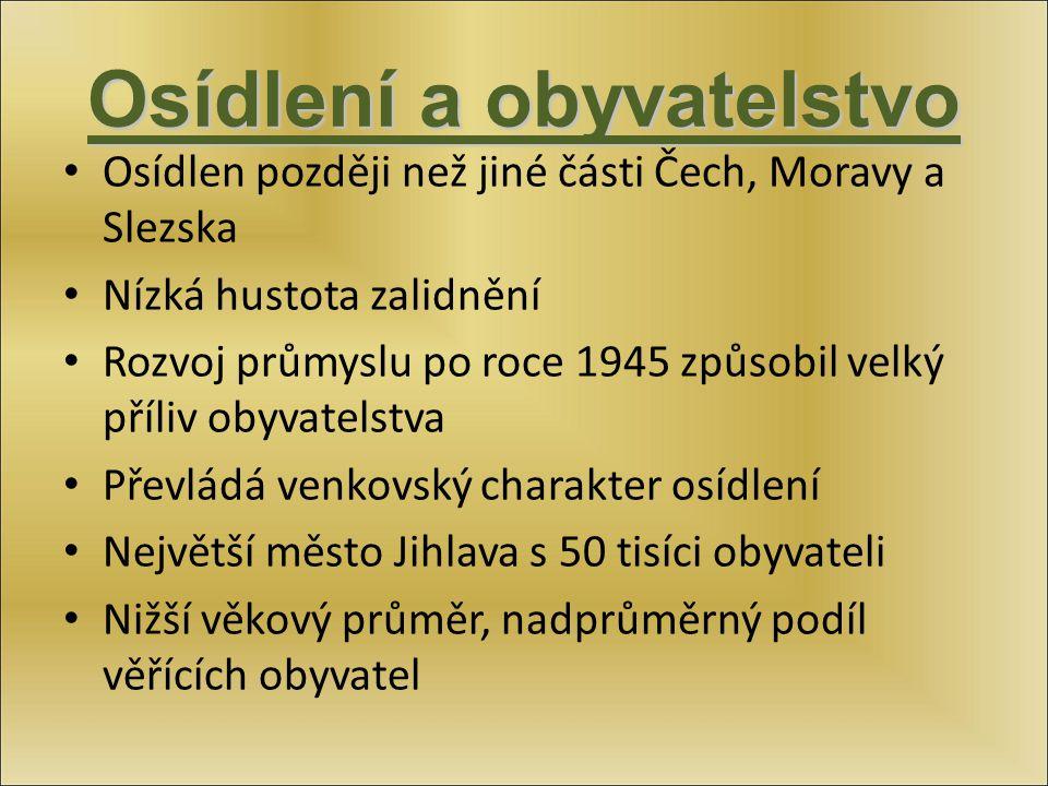 Osídlení a obyvatelstvo Osídlen později než jiné části Čech, Moravy a Slezska Nízká hustota zalidnění Rozvoj průmyslu po roce 1945 způsobil velký příl