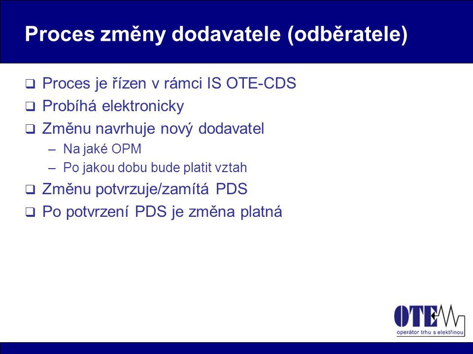 Proces změny dodavatele (odběratele)  Proces je řízen v rámci IS OTE-CDS  Probíhá elektronicky  Změnu navrhuje nový dodavatel –Na jaké OPM –Po jakou dobu bude platit vztah  Změnu potvrzuje/zamítá PDS  Po potvrzení PDS je změna platná