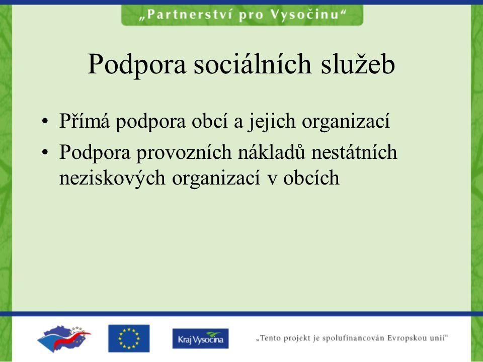 Podpora sociálních služeb Přímá podpora obcí a jejich organizací Podpora provozních nákladů nestátních neziskových organizací v obcích