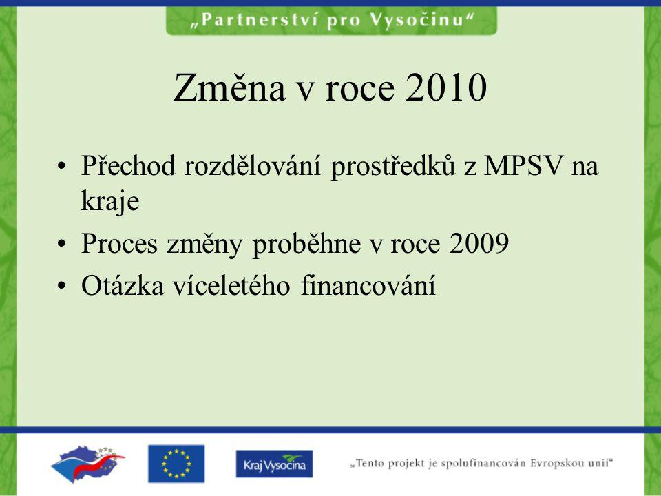Změna v roce 2010 Přechod rozdělování prostředků z MPSV na kraje Proces změny proběhne v roce 2009 Otázka víceletého financování