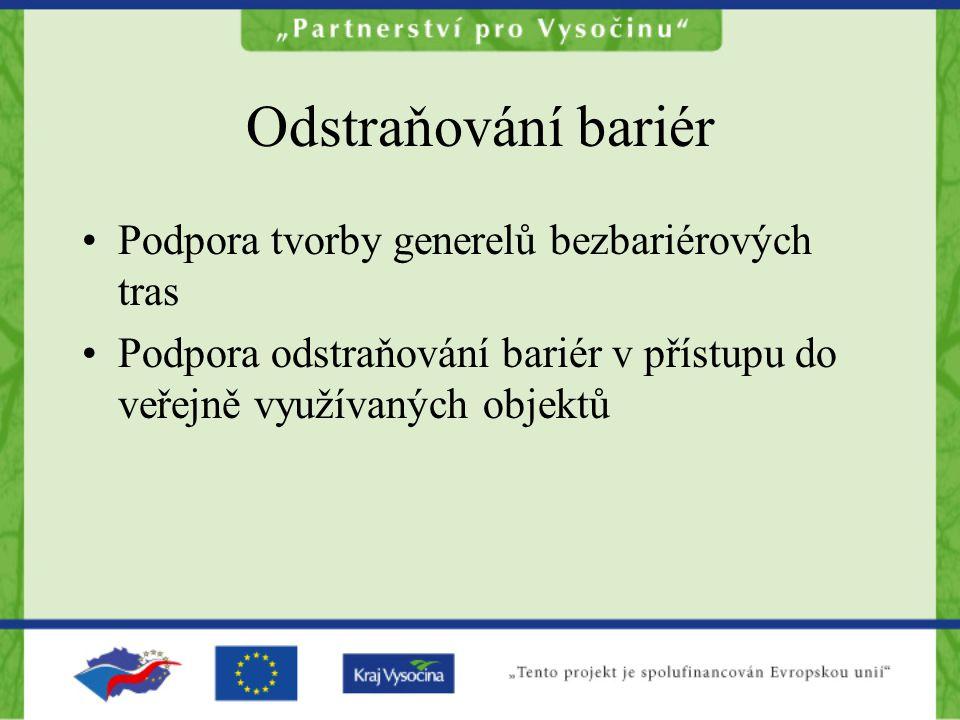 Odstraňování bariér Podpora tvorby generelů bezbariérových tras Podpora odstraňování bariér v přístupu do veřejně využívaných objektů