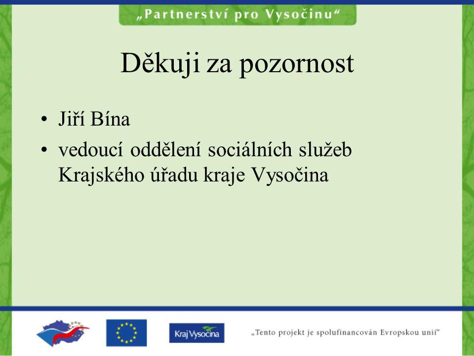 Děkuji za pozornost Jiří Bína vedoucí oddělení sociálních služeb Krajského úřadu kraje Vysočina