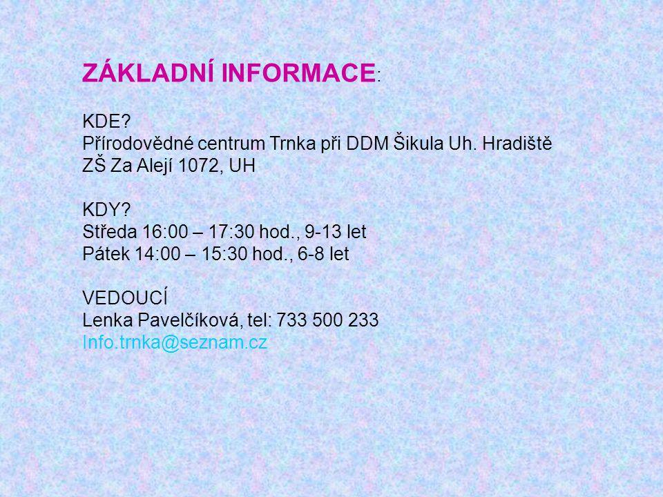 ZÁKLADNÍ INFORMACE : KDE. Přírodovědné centrum Trnka při DDM Šikula Uh.