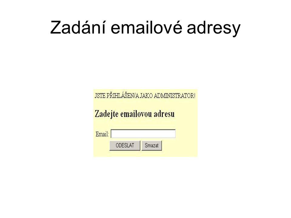 Zadání emailové adresy