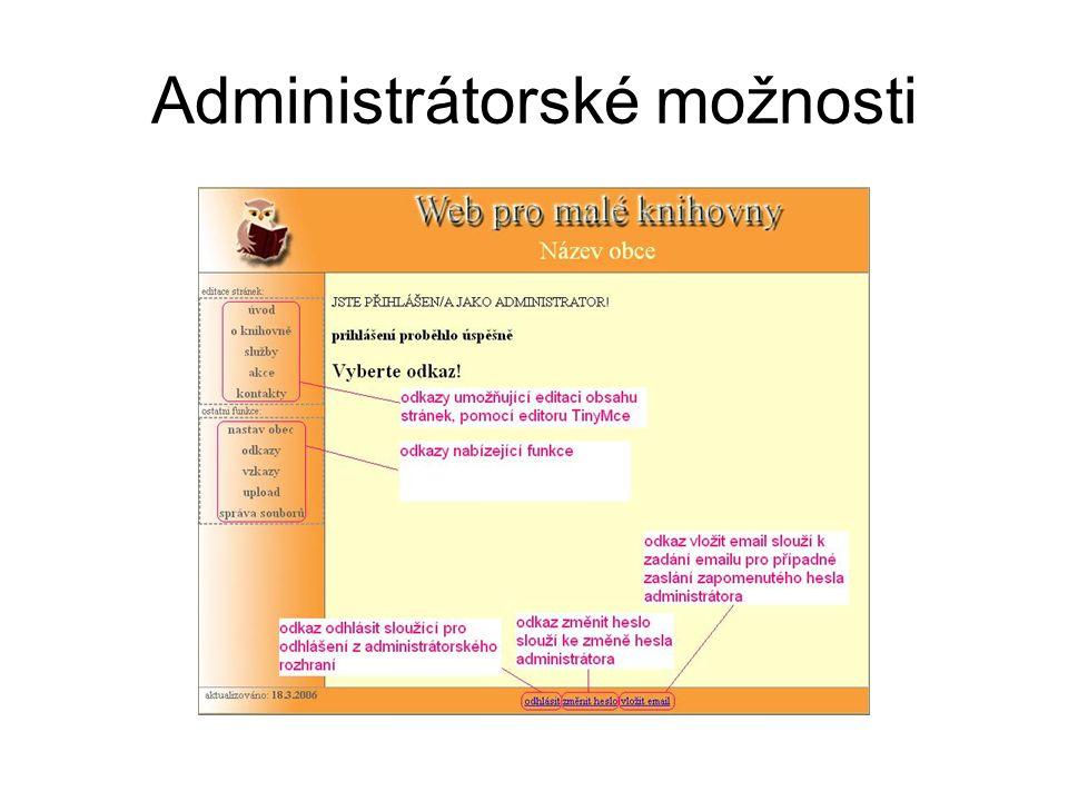 Administrátorské možnosti