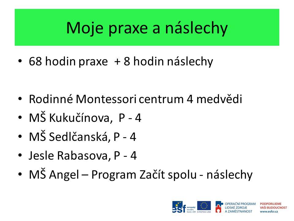 Moje praxe a náslechy 68 hodin praxe + 8 hodin náslechy Rodinné Montessori centrum 4 medvědi MŠ Kukučínova, P - 4 MŠ Sedlčanská, P - 4 Jesle Rabasova,