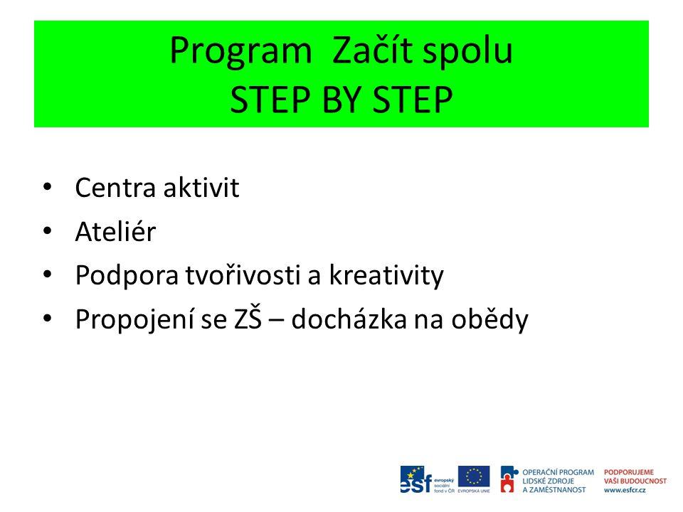 Program Začít spolu STEP BY STEP Centra aktivit Ateliér Podpora tvořivosti a kreativity Propojení se ZŠ – docházka na obědy