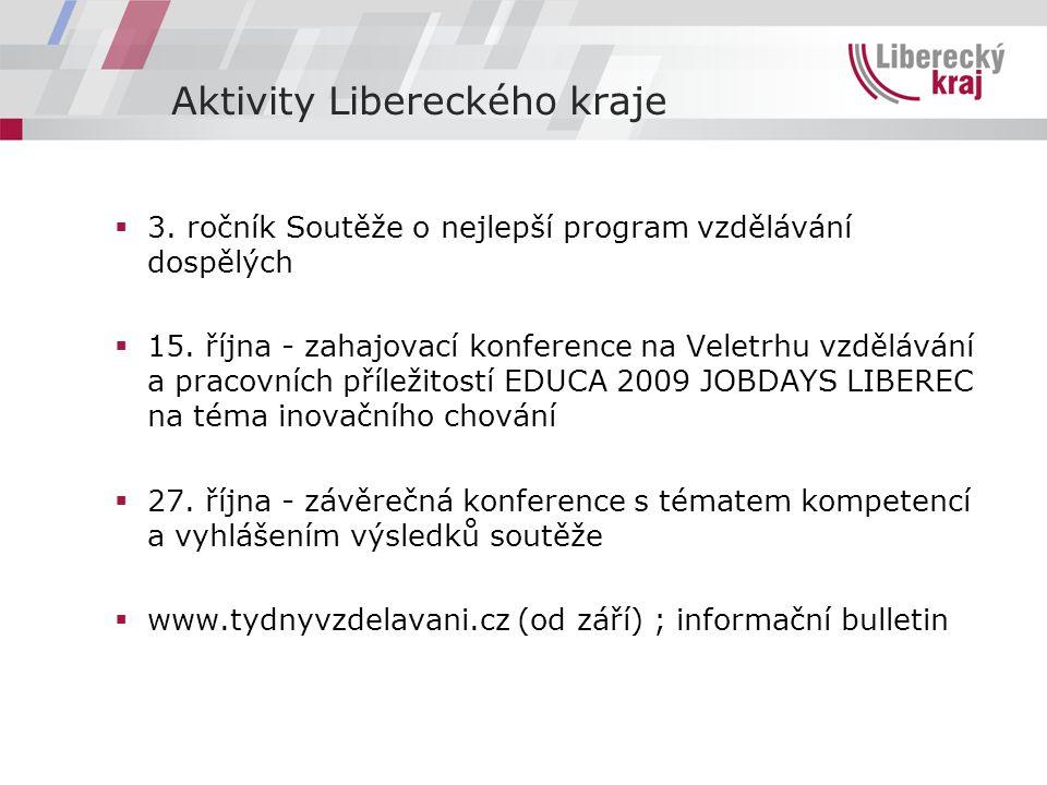 Aktivity Libereckého kraje  3. ročník Soutěže o nejlepší program vzdělávání dospělých  15.
