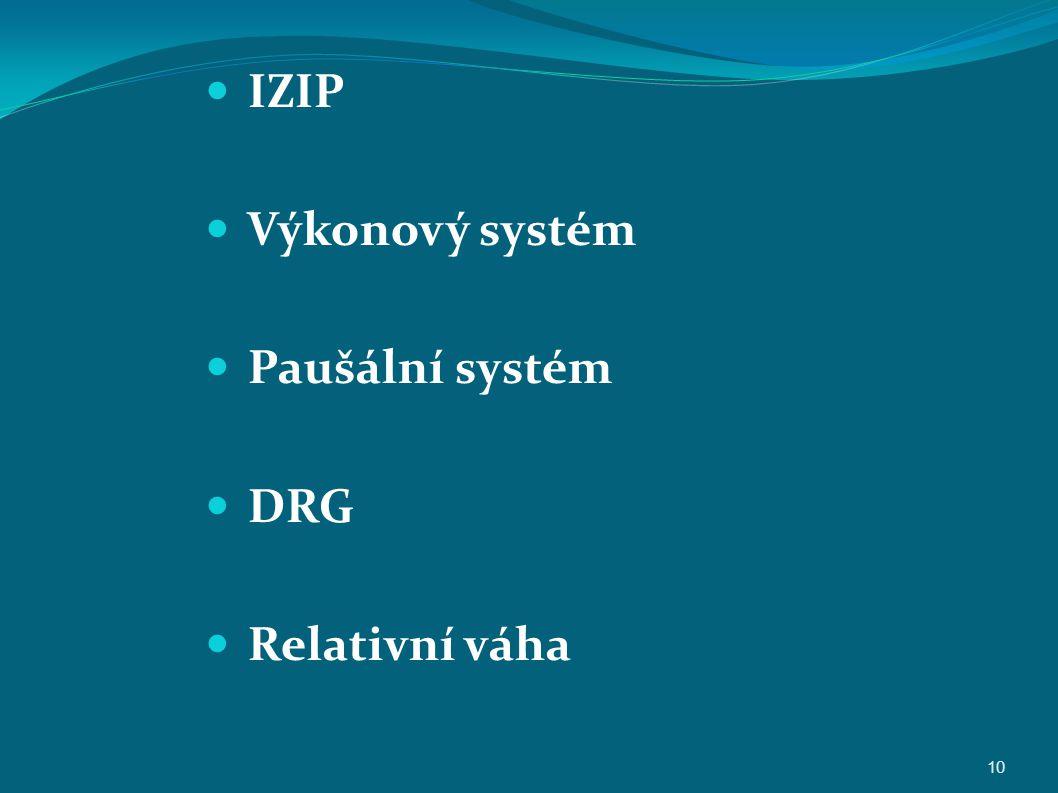 IZIP Výkonový systém Paušální systém DRG Relativní váha 10