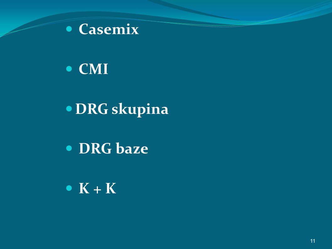 Casemix CMI DRG skupina DRG baze K + K 11