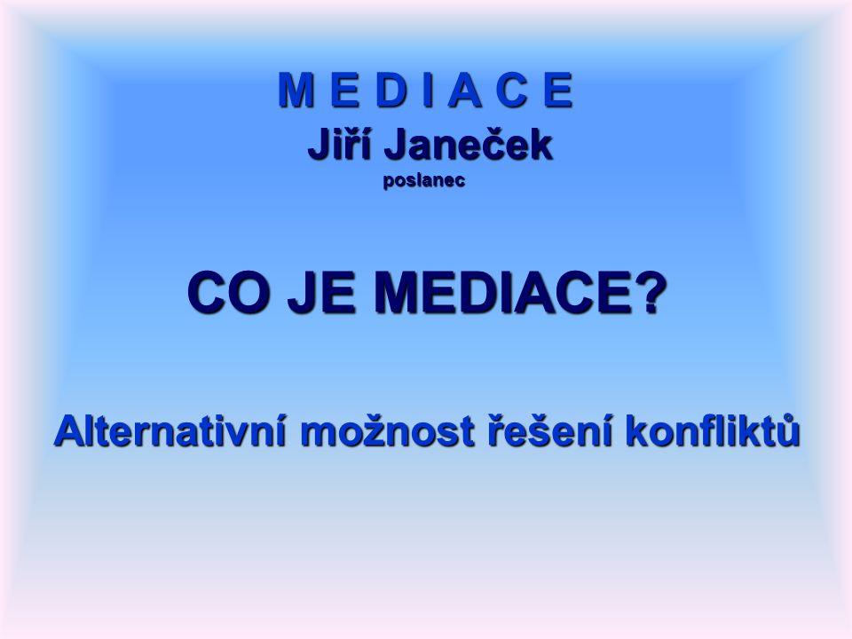M E D I A C E Jiří Janeček poslanec CO JE MEDIACE Alternativní možnost řešení konfliktů