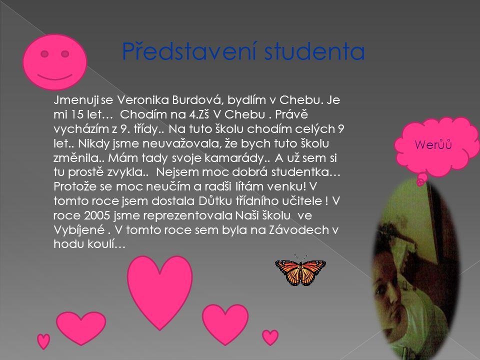 Představení studenta Jmenuji se Veronika Burdová, bydlím v Chebu. Je mi 15 let… Chodím na 4.Zš V Chebu. Právě vycházím z 9. třídy.. Na tuto školu chod