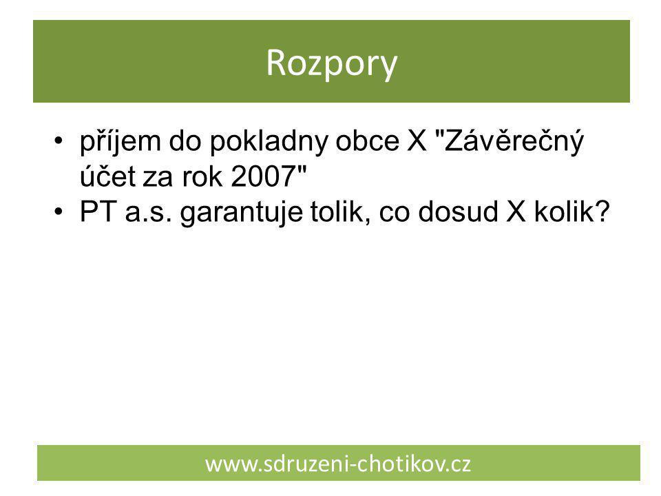Rozpory www.sdruzeni-chotikov.cz příjem do pokladny obce X Závěrečný účet za rok 2007 PT a.s.
