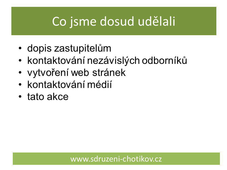 Co jsme dosud udělali www.sdruzeni-chotikov.cz dopis zastupitelům kontaktování nezávislých odborníků vytvoření web stránek kontaktování médií tato akc