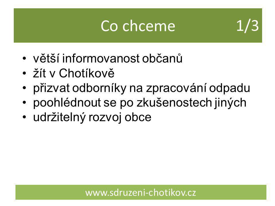 Co chceme www.sdruzeni-chotikov.cz větší informovanost občanů žít v Chotíkově přizvat odborníky na zpracování odpadu poohlédnout se po zkušenostech ji