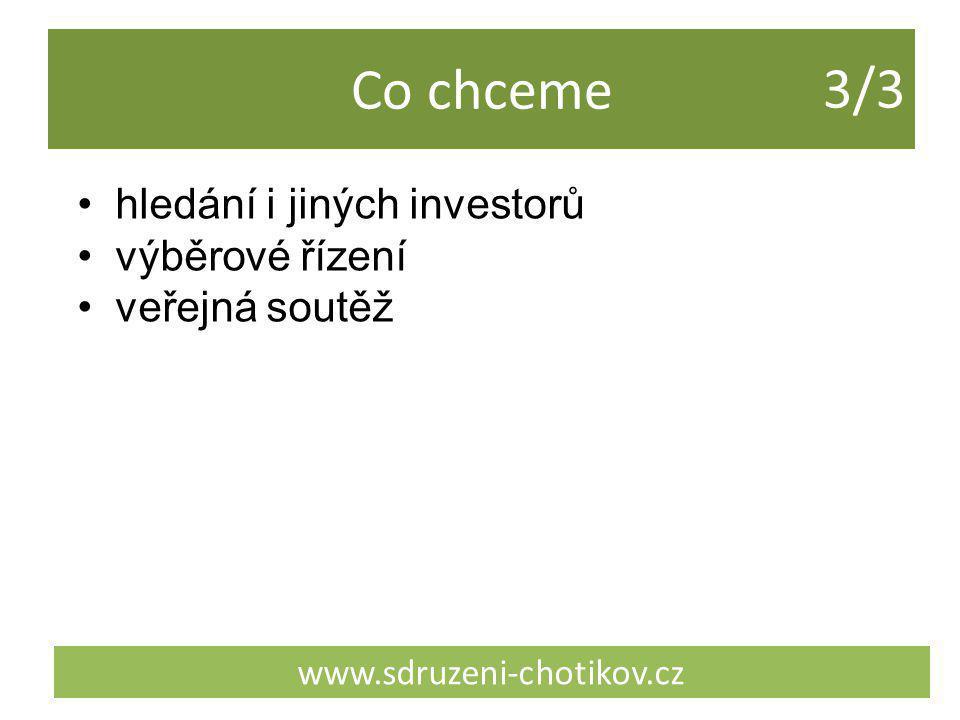 Co chceme www.sdruzeni-chotikov.cz hledání i jiných investorů výběrové řízení veřejná soutěž 3/33/3