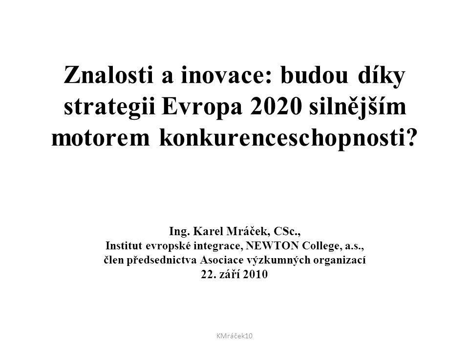 Znalosti a inovace: budou díky strategii Evropa 2020 silnějším motorem konkurenceschopnosti? Ing. Karel Mráček, CSc., Institut evropské integrace, NEW