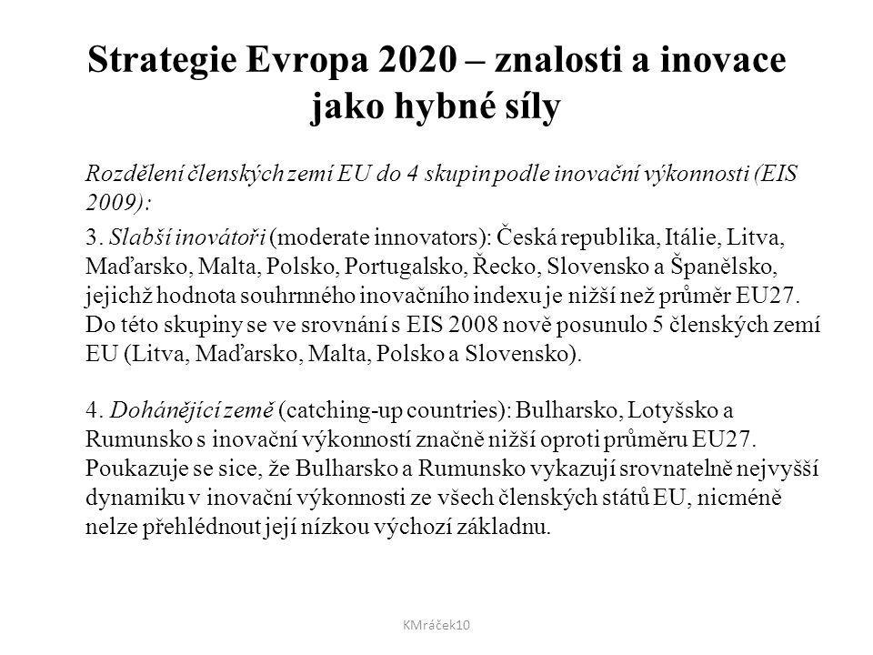 Strategie Evropa 2020 – znalosti a inovace jako hybné síly Rozdělení členských zemí EU do 4 skupin podle inovační výkonnosti (EIS 2009): 3. Slabší ino