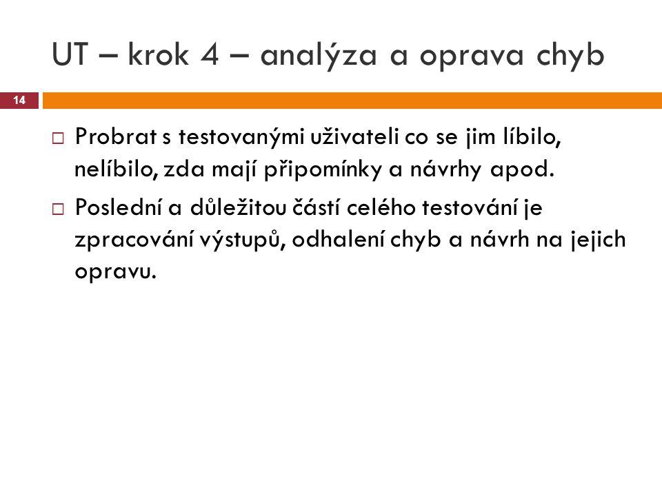 UT – krok 4 – analýza a oprava chyb 14  Probrat s testovanými uživateli co se jim líbilo, nelíbilo, zda mají připomínky a návrhy apod.