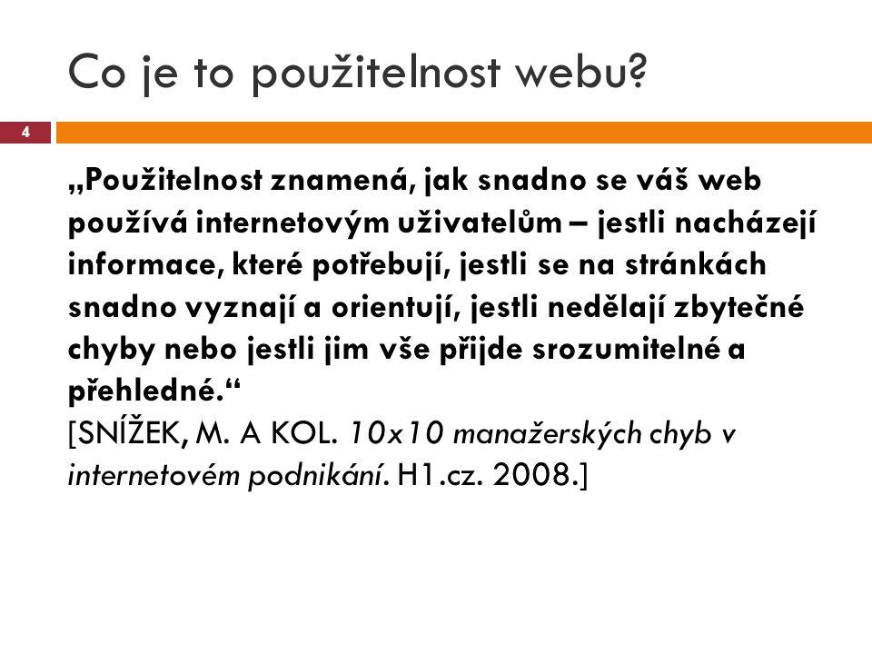 """Co je to použitelnost webu? 4 """"Použitelnost znamená, jak snadno se váš web používá internetovým uživatelům – jestli nacházejí informace, které potřebu"""