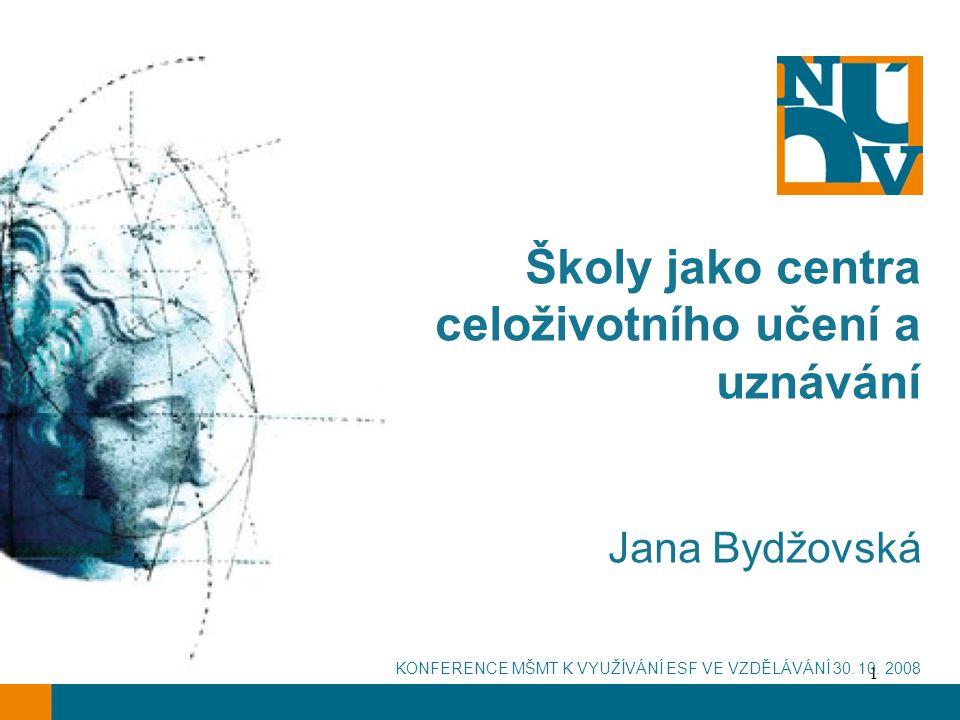 1 Školy jako centra celoživotního učení a uznávání Jana Bydžovská KONFERENCE MŠMT K VYUŽÍVÁNÍ ESF VE VZDĚLÁVÁNÍ 30.