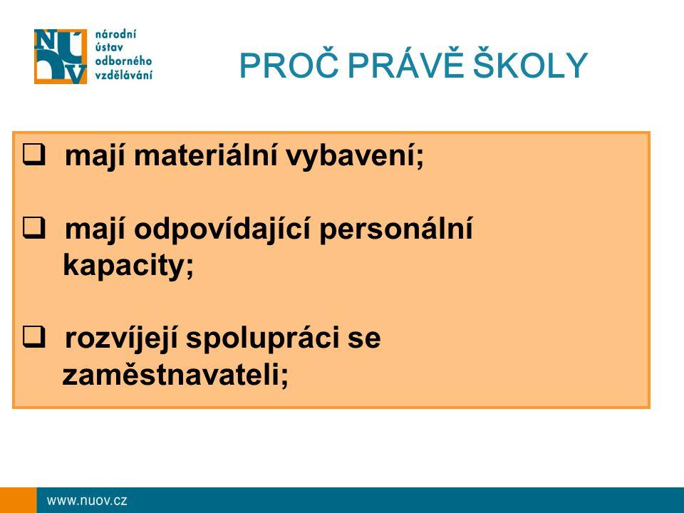 PROČ PRÁVĚ ŠKOLY  mají materiální vybavení;  mají odpovídající personální kapacity;  rozvíjejí spolupráci se zaměstnavateli;