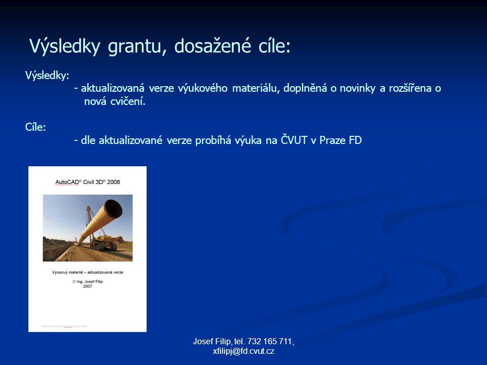 Josef Filip, tel. 732 165 711, xfilipj@fd.cvut.cz Výsledky grantu, dosažené cíle: Výsledky: - aktualizovaná verze výukového materiálu, doplněná o novi