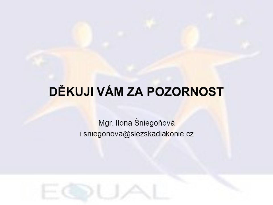 DĚKUJI VÁM ZA POZORNOST Mgr. Ilona Śniegoňová i.sniegonova@slezskadiakonie.cz