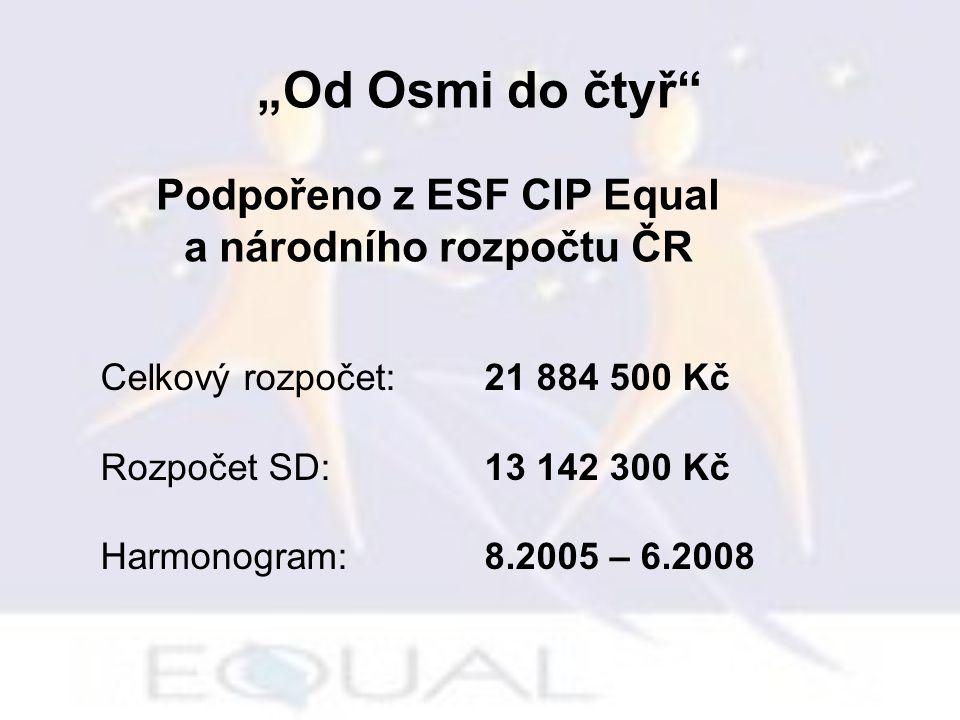 """Celkový rozpočet:21 884 500 Kč Rozpočet SD:13 142 300 Kč Harmonogram:8.2005 – 6.2008 Podpořeno z ESF CIP Equal a národního rozpočtu ČR """"Od Osmi do čtyř"""