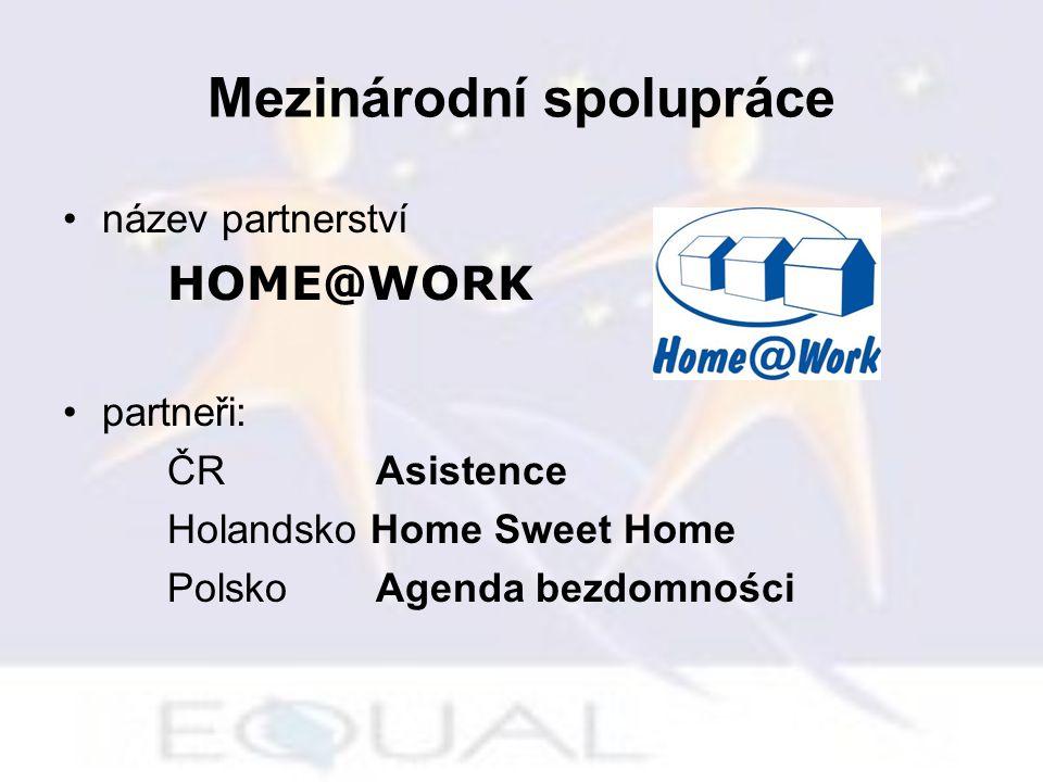 Mezinárodní spolupráce název partnerství HOME@WORK partneři: ČR Asistence Holandsko Home Sweet Home PolskoAgenda bezdomności
