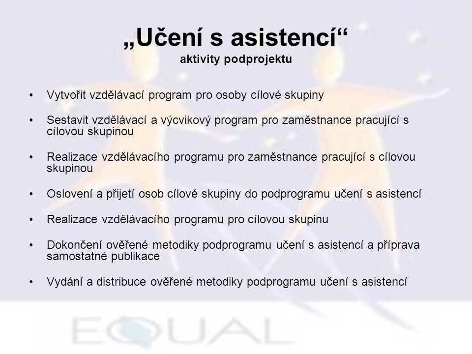 """""""Učení s asistencí"""" aktivity podprojektu Vytvořit vzdělávací program pro osoby cílové skupiny Sestavit vzdělávací a výcvikový program pro zaměstnance"""