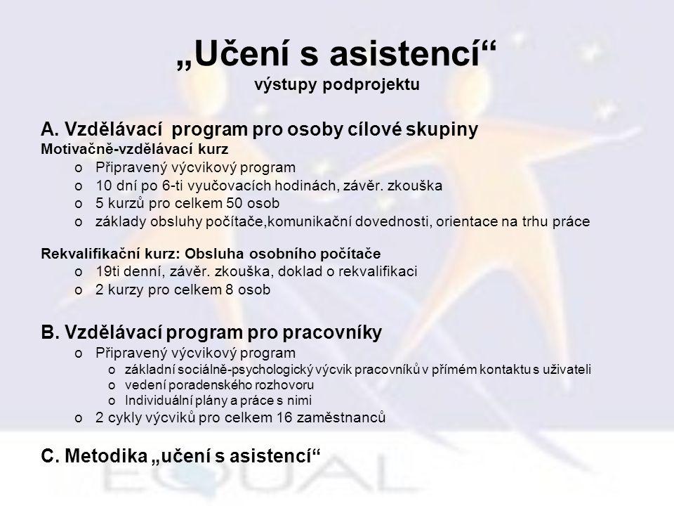 """""""Učení s asistencí"""" výstupy podprojektu A. Vzdělávací program pro osoby cílové skupiny Motivačně-vzdělávací kurz oPřipravený výcvikový program o10 dní"""