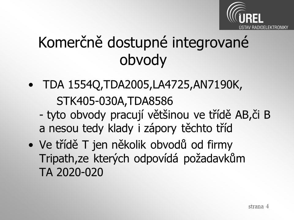 Komerčně dostupné integrované obvody strana 4 TDA 1554Q,TDA2005,LA4725,AN7190K, STK405-030A,TDA8586 - tyto obvody pracují většinou ve třídě AB,či B a