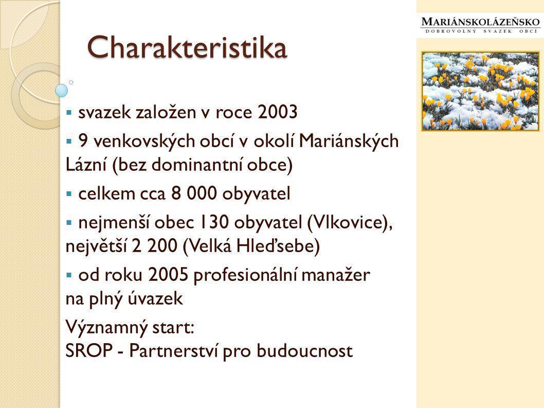 Charakteristika  svazek založen v roce 2003  9 venkovských obcí v okolí Mariánských Lázní (bez dominantní obce)  celkem cca 8 000 obyvatel  nejmenší obec 130 obyvatel (Vlkovice), největší 2 200 (Velká Hleďsebe)  od roku 2005 profesionální manažer na plný úvazek Významný start: SROP - Partnerství pro budoucnost